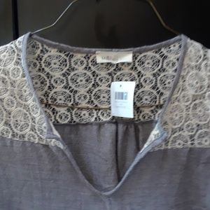 NWT Millibon Lace & Gray Cotton Blend V-Neck Shirt
